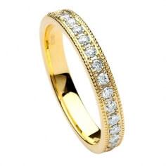 Femmes bande de mariage de diamant noeud de trinité - or jaune