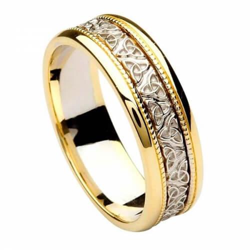 Herren Trinity Knoten Ehering - weiß mit Gelbgold-Besatz