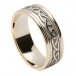 Women's Embossed Celtic Knot Ring - White Gold with Yellow Gold Trim