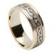 Bague noeud celtique en relief pour femme - or blanc avec bordure en or jaune