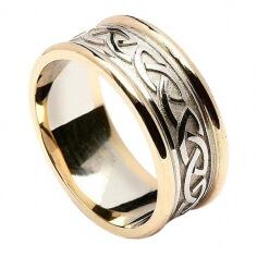 Bague noeud celtique en relief pour homme - or blanc avec bordure en or jaune