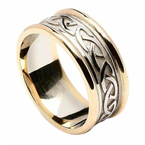 Geprägter keltischer Knotenring für Männer - Weißgold mit Gelbgoldverzierung