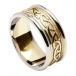 Men's Embossed Celtic Knot Ring - Yellow Gold with White Gold Trim