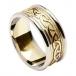 Keltischer Knotenring für Damen - Weißgold mit Gelbgold-Besatz