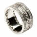 Embossed Celtic Knot Ring with Diamond Trim - All White Gold