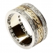 Embossed Celtic Knot Ring with Diamond Trim - Yellow and White Gold