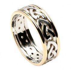 Männer keltischen Knoten Ring mit trim - weiß mit Gelbgold trimmen