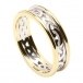 Women's Celtic Knot Ring with Trim - White with Yellow Gold Trim