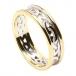 Damen keltischer Knoten Ring mit Trim - weiß mit Gelbgold-Besatz