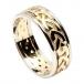 Männer keltischen Knoten Ring mit trim - Gelb mit Weißgoldverzierung