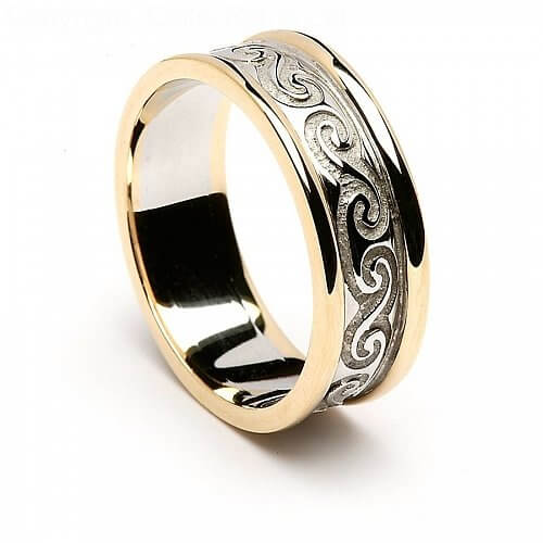 14K White Gold Celtic Wedding Ring with Yellow Gold Trim
