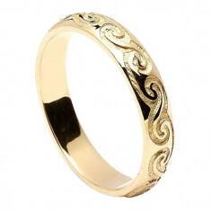 Damen keltische Spirale Ehering - Gelbgold