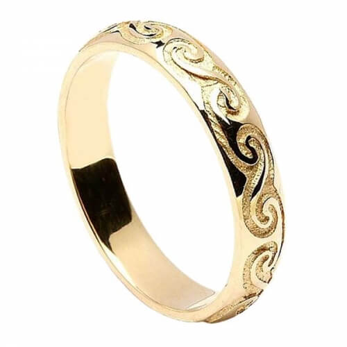 Women's Celtic Spiral Wedding Band - Yellow Gold