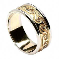 Celtic Spiral Band with Trim - Yellow with White Gold Trim