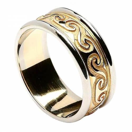 Bande spirale celtique avec bordure - jaune avec bordure en or blanc