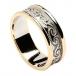 Bande spirale celtique avec bordure - blanc avec bordure en or jaune