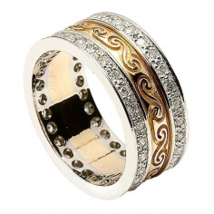 Celtic Spiral Band with Diamond Trim - Yellow with White Gold Trim