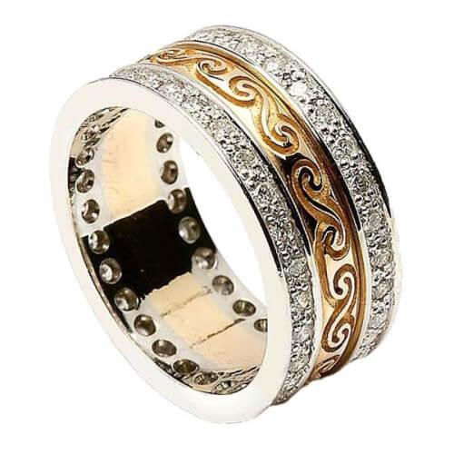 Celtique bande spirale avec garniture en diamant - jaune avec garniture en or blanc