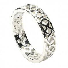 Herren durchstochen keltischer Knoten Ring - weißes Gold oder Silber