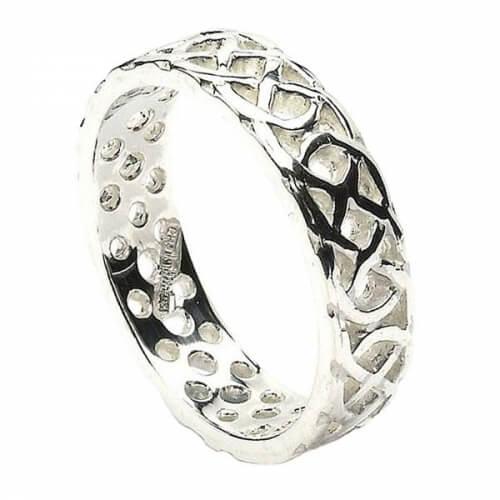 Men's Pierced Celtic Knot Ring - White Gold or Silver