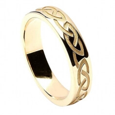 Men's Engraved Celtic Knot Wedding Ring - Yellow Gold