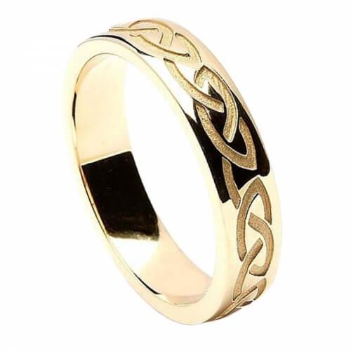 Herren keltischer Knoten Ehering graviert - Gelbgold