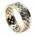 Men's Pierced Celtic Knot Ring with Trim - White with Yellow Gold Trim