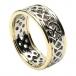 Herren-durchstochen keltischen Knoten Ring mit trim - weiß mit Gelbgold trimmen