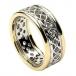 Damen-durchstochen keltischen Knoten Ring mit trim - weiß mit Gelbgold trimmen