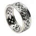 Men's Pierced Celtic Knot Ring with Trim - All White Gold