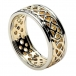 Men's Pierced Celtic Knot Ring with Trim - Yellow with White Gold Trim