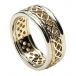 Women's Pierced Celtic Knot Ring with Trim - Yellow with White Gold Trim