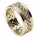 Women's Pierced Celtic Knot Ring with Trim - All Yellow Gold