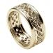 Damen-durchstochen keltischen Knoten Ring mit trim - alles gelbe Gold