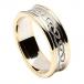 Damen eingraviert keltischer Knoten Ring mit Zier - weiß mit gelben trim