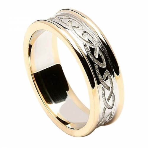 Women's Engraved Celtic Knot Ring with Trim - White with Yellow Trim