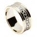 Men's Engraved Celtic Knot Ring with Trim - White with Yellow Trim