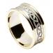 Herren eingraviert keltischer Knoten Ring mit Zier - weiß mit gelben trim