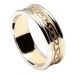Damen eingraviert keltischer Knoten Ring mit Zier - gelb mit weißem Rand