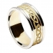 Men's Engraved Celtic Knot Ring with Trim - Yellow with White Trim