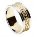 Herren eingraviert keltischer Knoten Ring mit Zier - gelb mit weißem Rand