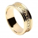 Women's Engraved Celtic Knot Ring with Trim - All Yellow Gold