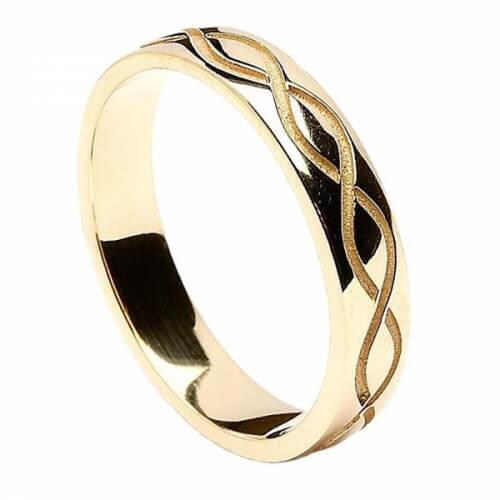 Men's Engraved Spiral Wedding Ring - Yellow Gold