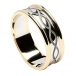 Engraved Spiral Ring with Trim - White with Yellow Gold Trim