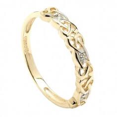 Damen Keltischer Diamant Ring in Gelbgold