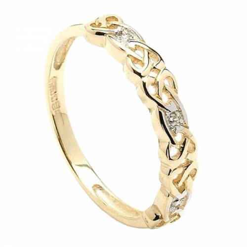 Women's Celtic Diamond Ring in Yellow Gold