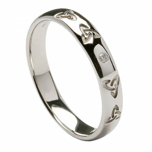 Men's Engraved Trinity Knot Wedding Ring - White Gold