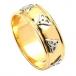 Noeud trinité poli anneau de mariage - jaune or blanc
