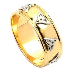 Polierte Trinity Knoten Ehering - gelb mit Weißgold