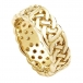 Wide Pierced Celtic Wedding Ring - Yellow Gold